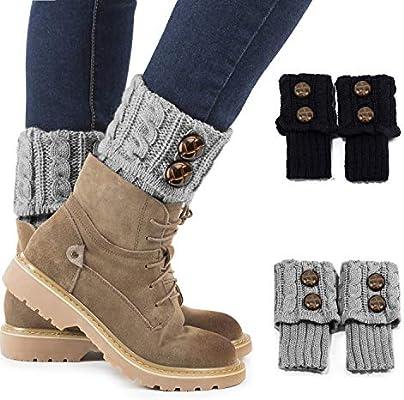Women Winter Leg Warmers Socks Button Crochet Knit Boot Socks Toppers Cuffs 2019