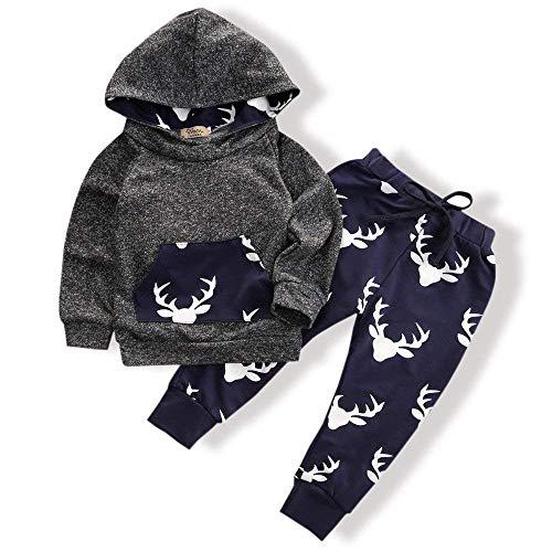 Infant Boys Long Sleeve Pant - Toddler Infant Baby Boys Deer Long Sleeve Hoodie Tops Sweatsuit Pants Outfit Set(18-24 Months)