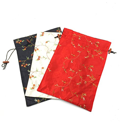 Mmei Set of 3 14'' x 11''(L x W) Flower Design Embroidered Silk Jacquard Travel Bag Underwear Cloth Shoe Bags Pouch Purse (Off-white x 1, red x 1, black x 1) by Mmei