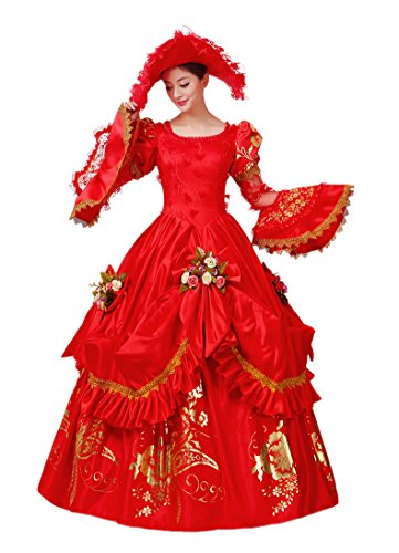 Zukzi Women's Gorgeous Red Court Dress Costume with Free Petticoat, US 12 (Colonial Gown Costume)