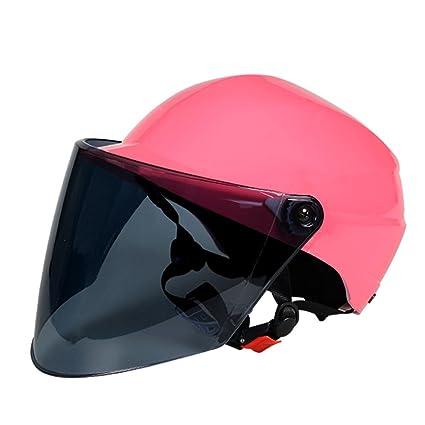 Casco De Moto Rosa Casco De Coche Eléctrico Hombres Y Mujeres Medio Casco Casco De Protección