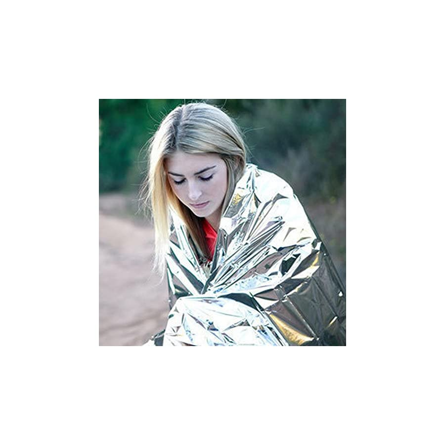 "5 Pack Emergency Blankets 55""x 78"" Survival Blankets Pack for Heat Retention Perfect for Survival Kits and Go Bags"