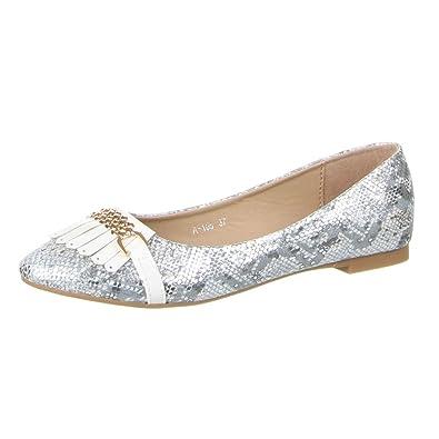 Damen Schuhe, A-105, BALLERINAS, MODERNE BLOCKABSATZ HALBSCHUHE, Synthetik in hochwertiger Lederoptik und Lacklederoptik, Weiß, Gr 37