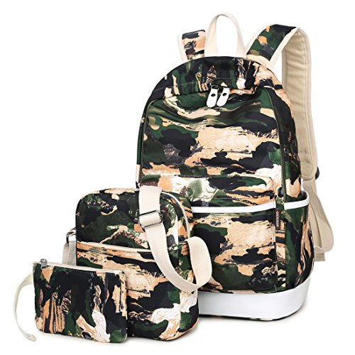 Joymoze Waterproof School Backpack for Girl Cute Backpack Set 3 Pieces for Women Camouflage 825