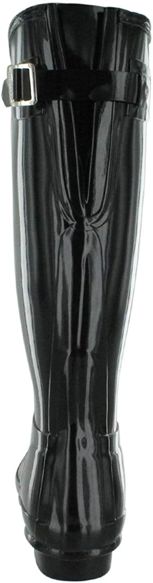HUNTER Damen Original Back Adjustable Gloss Stiefel Schwarz