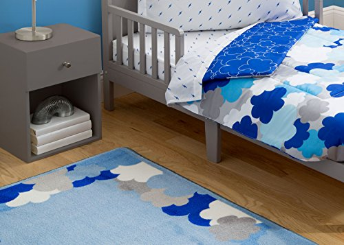 Delta Children Soft Kids Area Rug (2.5 foot x 4 foot) Boys Clouds | Blue, White and Grey Cloud White Area Rug