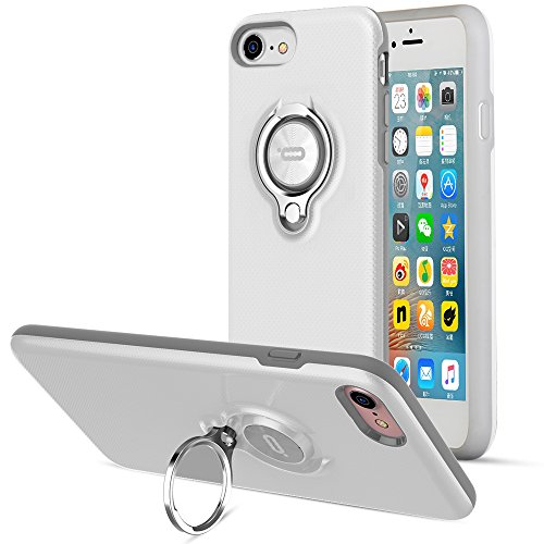 iPhone 8 Case, iPhone 7 Case by ICONFLANG, 360 Degree Rotating Ring Kickstand Case Shockproof Impact Protection Function Can Work with Magnetic Car Mount case 2018 - White Grey ()