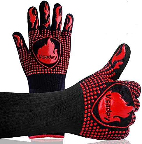 Vsadey BBQ Gloves 1472℉ Extreme Heat Resistant Oven Gloves, Food Grade Silicone Kitchen Grill Glov
