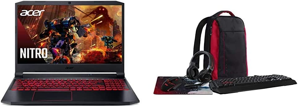 "Acer Nitro 5 Gaming Laptop, 10th Gen Intel Core i5-10300H, NVIDIA GeForce GTX 1650 Ti, 15.6"" Full HD IPS 144Hz Display, 8GB DDR4, 256GB NVMe SSD with Acer Nitro Gaming 5-in-1 Accessory Bundle"