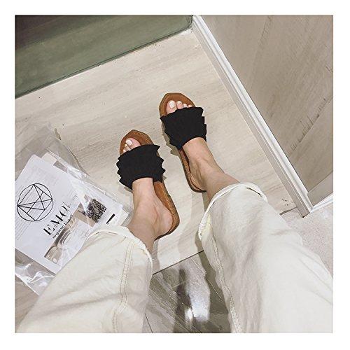 ITTXTTI Zapatillas Mujer Playa de Fondo Plano Versión Coreana de Las Sandalias y Zapatillas de Lado de Onda Mujeres Usan Moda de Verano bajo Perfil Simple B