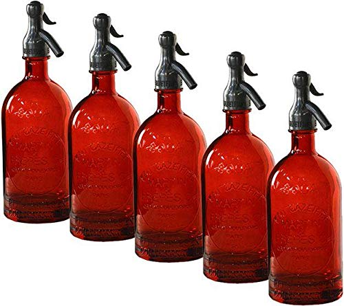 Seltzer Bottle Dovetail Vintage Red Set 6 New Hand-Blown