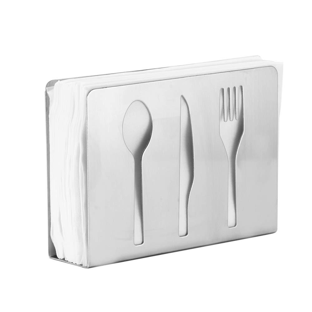 ALLOMN ステンレススチール ナプキンホルダー スタンド 自立式 ティッシュディスペンサー テーブル 垂直ナプキンクリップ ホームキッチンデコレーション用  Dinner Set B07GKX95D4