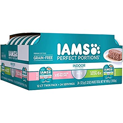 Iams Premium Cat Food Grain Free Perfect PORTIONS Indoor Multi Pack 6- (12-Servings) Salmon Recipe, 6- (12-Servings) Turkey Recipe