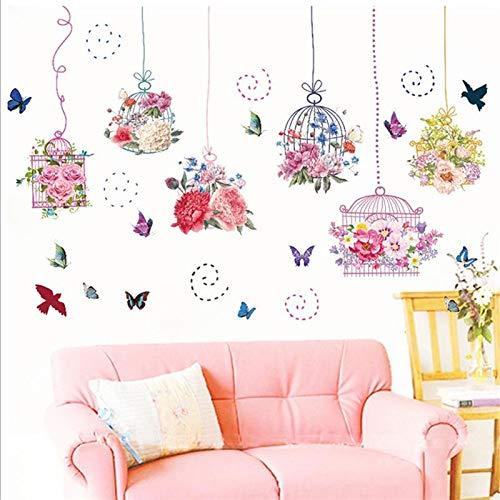 ELGDX Etiqueta de la Pared Flor Grande Jaula Colgando Mariposa ...