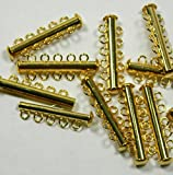 10 Pack Multi 5 Strand Slide Lock Clasps, Gold Plated Brass