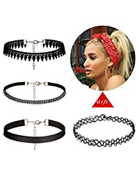 5Mayi Leather Chain Necklace for Women Girls Lace Choker Tassel Tattoo Necklace,Black
