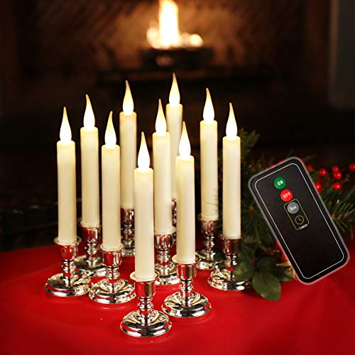 Set of 10 Flameless Battery Operated LED Ivory Taper Window Candles with Daily Timer, Removable Silver Candle Stands, Remote Control and 20 AA Batteries Included (Cordless Christmas Candles)