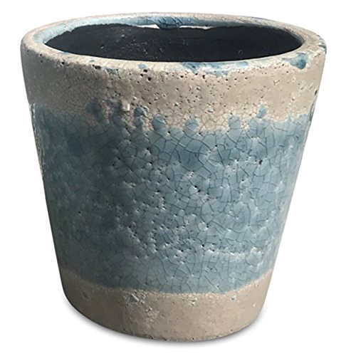 Whole House Worlds The Beach Chic Turquoise Cone Cache Pot Planter, Terracotta, Crackle Glaze, Distressed, Worn Exposed Patches, Shabby Style, 5 Diameter x 5 Inches Tall