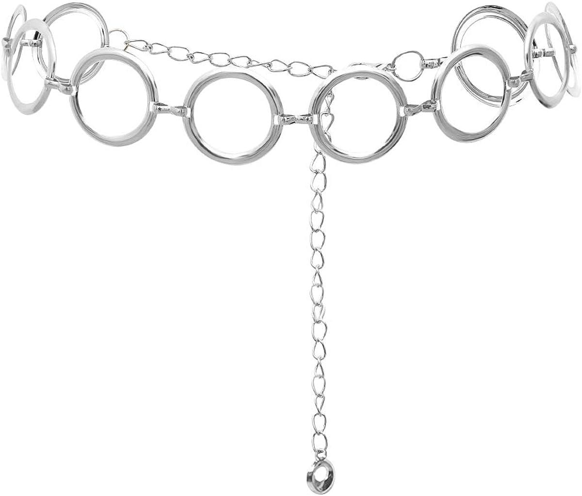 LumiSyne Moda Cinturón De Cadenas Para Mujer Anillo De Metal Sencillo Cadenas De Pretina Dorado Plata Hebilla Ajustable Cinturón De Vestir Cadena De Cuerpo Para Diario Fiesta Boda