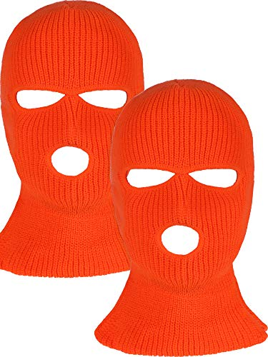 2 Pieces 3-Hole Ski Mask Knitted Face Cover Winter Balaclava Full Face Mask for Winter Outdoor Sports (Orange)