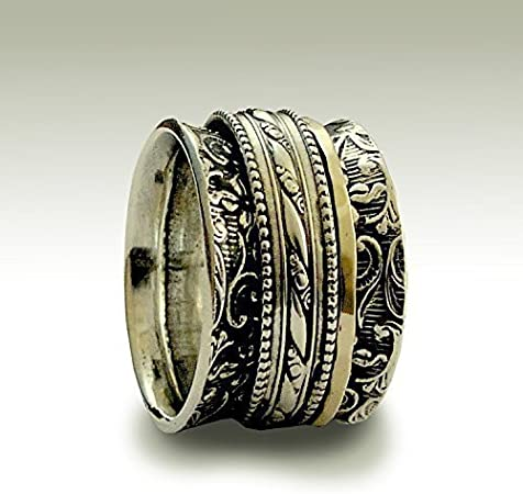 woodland ring Two tone band meditation ring silver gold band wide band Silver wedding ring It/'s okay to believe R1741A spinner ring