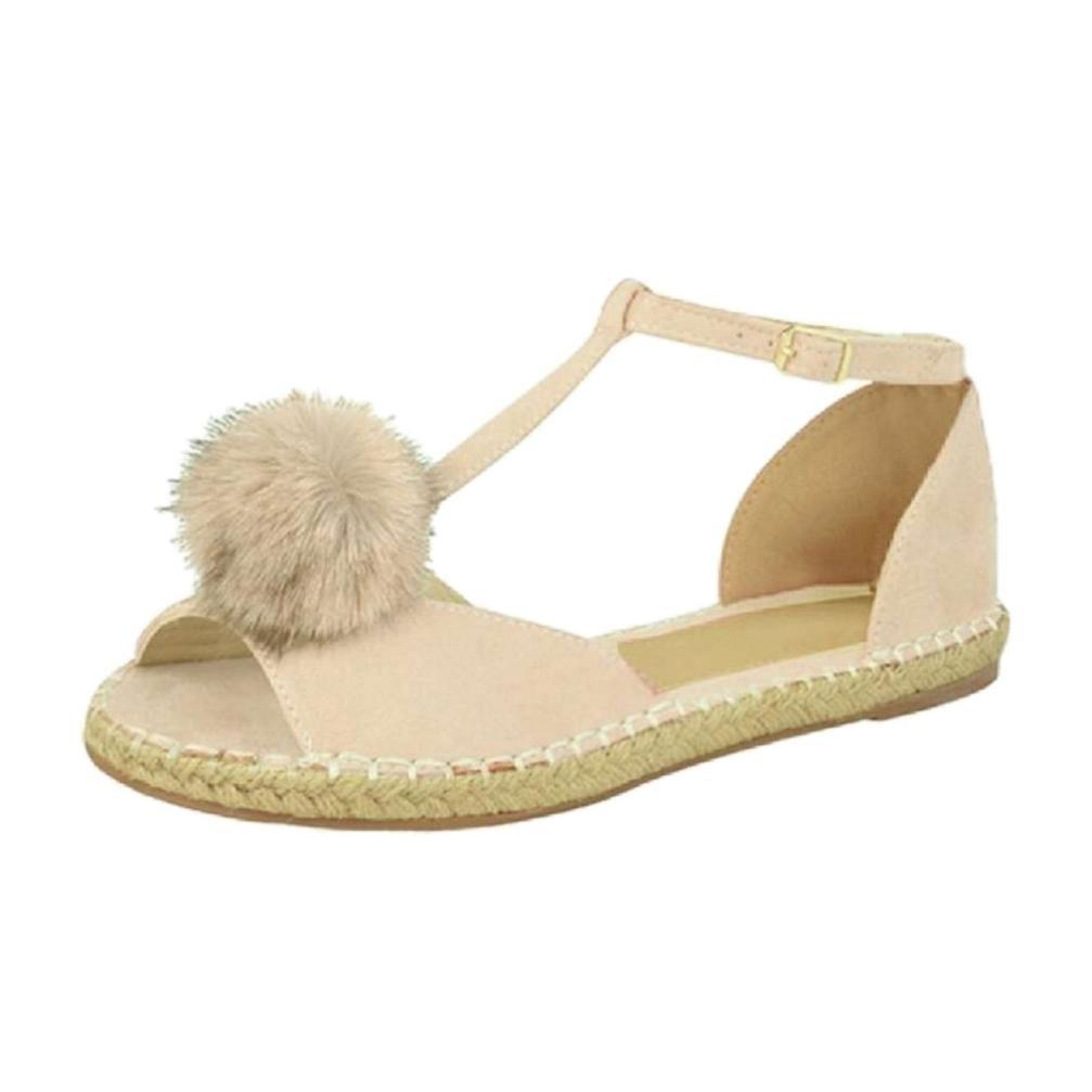 SUKEQ Womens T Strap Peep Toe Pom Sandals Summer Soft Comfort Ankle Strap Flat Sandal Shoes (8.5 B(M) US, Beige)
