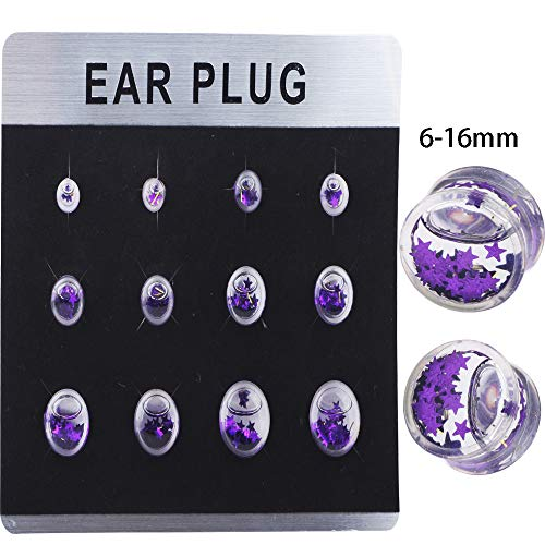 TIANCI FBYJS One Card 12pcs Mix 6 Size Liquid Ear Plugs Gauges Flesh Tunnel Acrylic Earring Stretcher Kit Piercing (Purple Star Style)