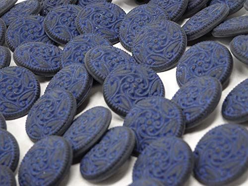 ShopForAllYou Buttons Craft Sewing Vintage Blue Paisley Floral Round Shank Buttons 22mm Lot of 13 B75-8