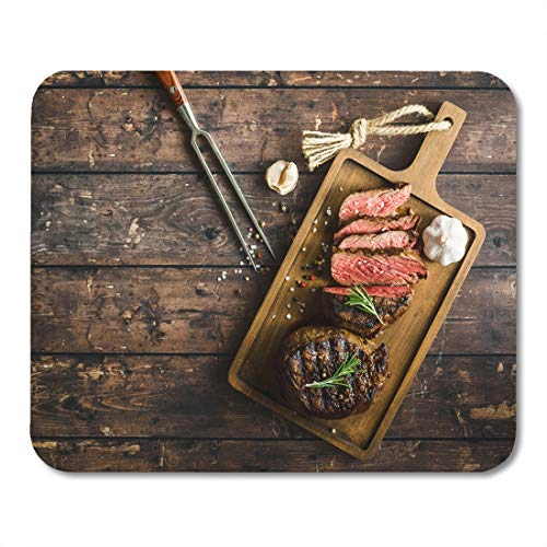 Boszina Mouse Pads Sliced Grilled Marbled Meat Steak Filet Mignon Seasonings Fork Wooden Cutting Board Space for Text Juicy Mouse Pad for notebooks,Desktop Computers mats 9.5