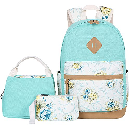 BLUBOON Canvas School Backpack Set 3 Pieces Lightweight Teen Girls Bookbags Insulated Lunch Bag Pencil Case (Water Green-flower) (Best Insulated Lunch Box 2019)