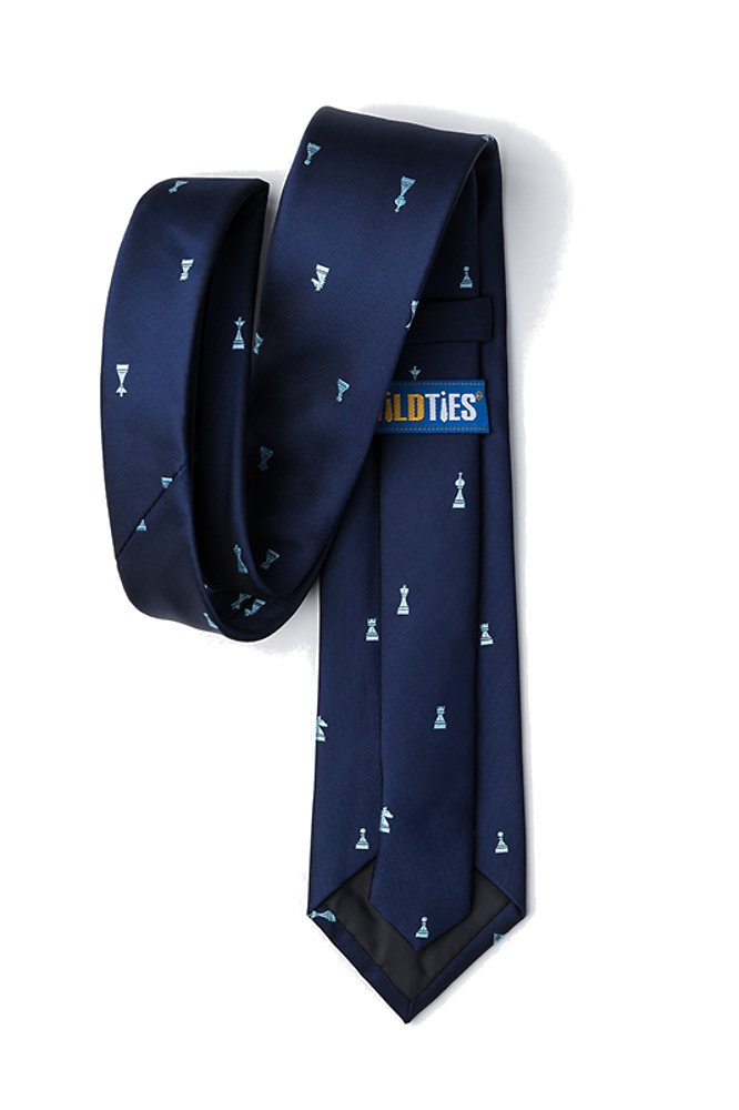 Men's Microfiber Checkmate Chess Game Pieces Skinny Narrow Tie Necktie (Navy Blue) by Wild Ties (Image #2)