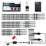 #9: Muening 12Pcs Motorcycle RGB Led Light Kit Strips Multi-Color Accent Glow Neon Lights Lamp