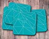 Alternative geometric turquoise triangle coasters, patterned table decor, drink mat