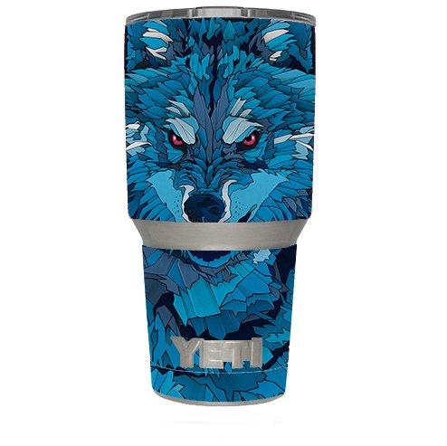 Skin Decal Vinyl Wrap (6-piece kit) for Yeti 30 oz Rambler Tumbler Cup / Blue Wolf