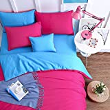 YIweNi Simple Pure Cotton Soft Comfortable Bedding Collections Bedding Sets Four set Solid color,1.2m?suitable 4 inches bed? Four set for chlidren, student, bedroom,&f2531