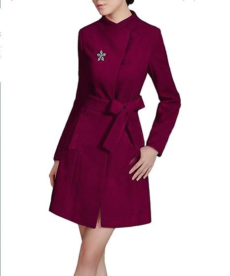 Purpura Erizo elegence Ladies Cinturón de Mujer Lana Largo Abrigo Chaqueta de Invierno para Rojo Rojo Vino XX-Large: Amazon.es: Ropa y accesorios