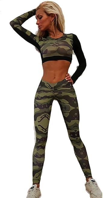 Chandal Mujer Crop Top+Leggins Deportes Dos Piezas Militar Manga ...