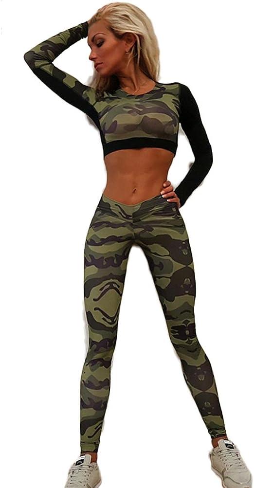 Pantalones Chandal Mujer Militar Crop Top Dos Piezas Conjuntos ...