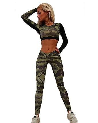 Pantalones Chandal Mujer Militar Crop Top Dos Piezas ...