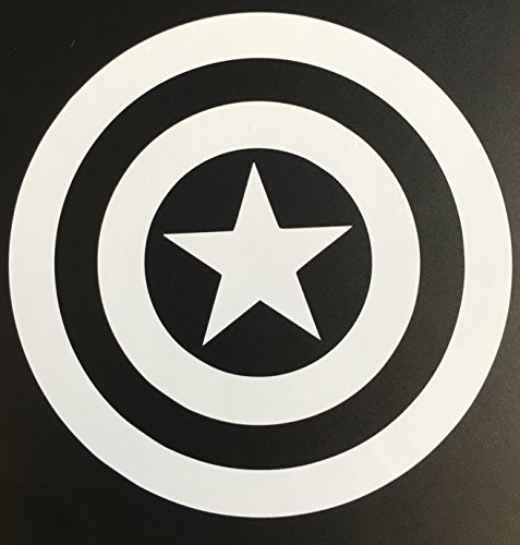 C60003 White Captain America Decal Sticker for Car Window, Laptop, Motorcycle, Walls, Mirror and More. (5.5