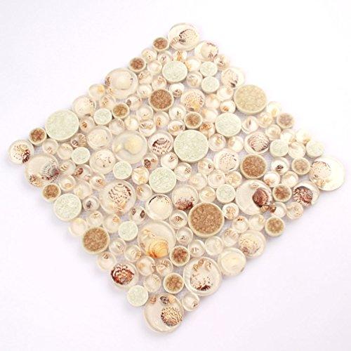 White Tile Resin Conch Mosaic Backsplash Kitchen Tile Porcelain Sea Shell Mosaic Bathroom Wall [Pack of 11PCS(11.8x11.8x0.31 Inches/each)]