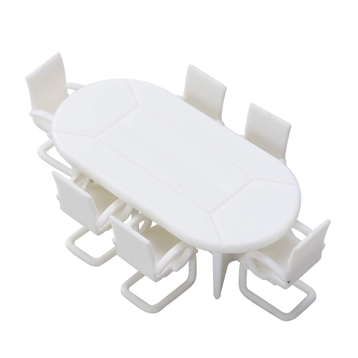 Amosfun 7pcs Dollhouse Miniature Meubles Minature Table Et Chaises Ensemble Miniature Fée Jardin Accessoires