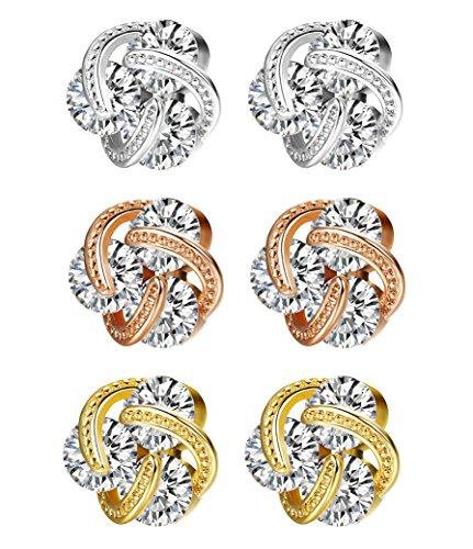JOERICA 3 Pairs Stainless Steel CZ Stud Earrings for Women Girls Gold Stud Earrings (Steel Shiny Earrings Stainless)