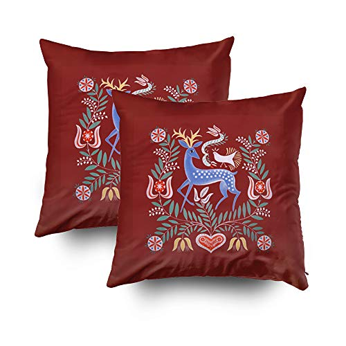 TOMWISH 2 Packs Hidden Zippered Pillowcase Hungarian Folk Art Deer with deep red Background 16X16Inch,Decorative Throw Custom Cotton Pillow Case Cushion Cover for Home