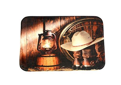 DENGYUE American West Style 3D Print Bath Rug, Cowboy Hat Light Pattern Memory Foam Comfortable Flannel Microfiber Door Mat Kitchen Runner Rugs No Slipping Absorbent Home Decoration Mat