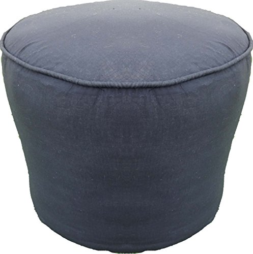 Saffron Plain Cotton Round Ottoman Footstool Solid Throw Pouf Cover (18