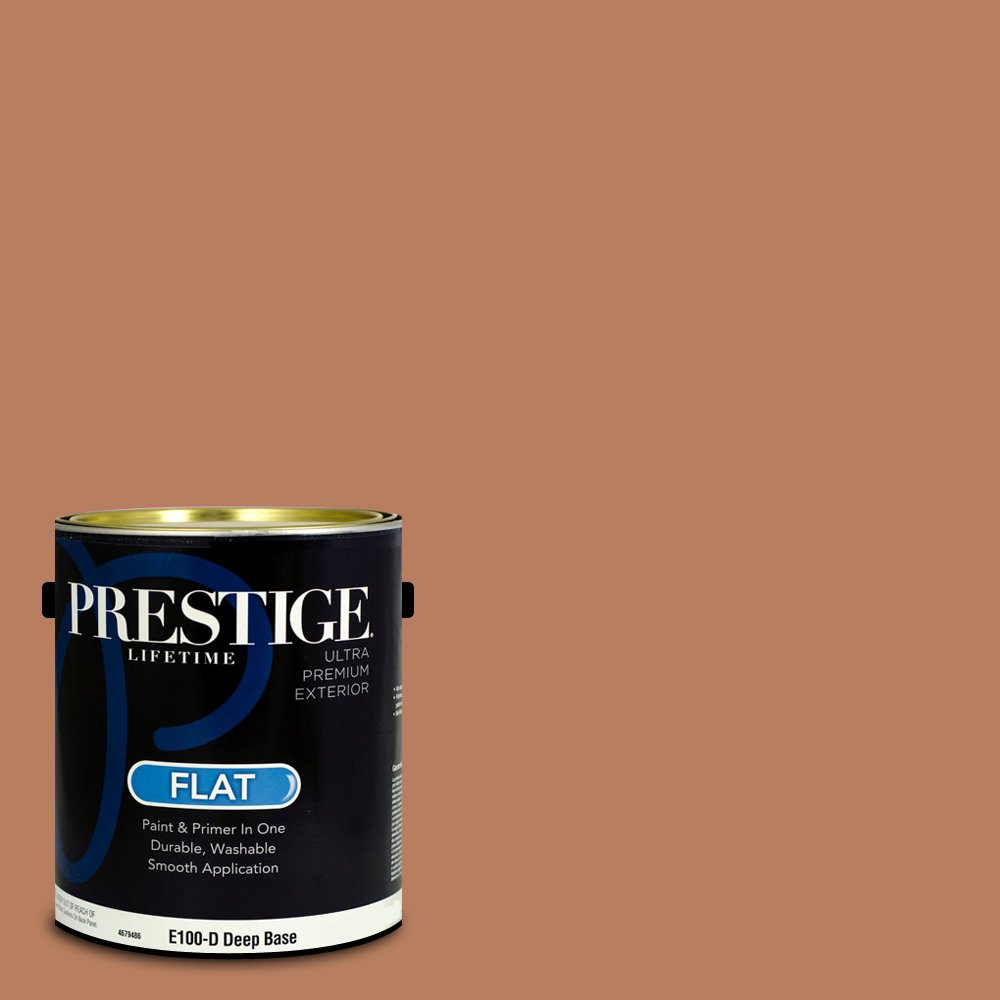 Prestige Paints Exterior Paint and Primer In One, 1-Gallon, Flat,  Comparable Match of Benjamin Moore Suntan Bronze