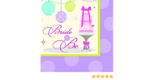 Bridal Shower Party Beverage Napkins Amscan Chic Bride 5 x 5 Purple//White 501088 16 Piece