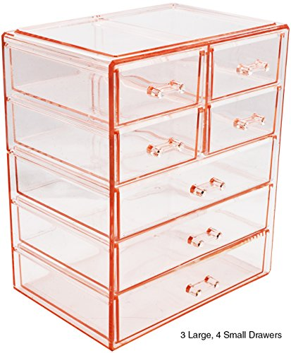 Sorbus Cosmetics Makeup and Jewelry Big Pink Storage Case Display- 3 Large and 4 Small Drawers Space- Saving, Stylish Acrylic Bathroom Case (Big Box Jewellery)