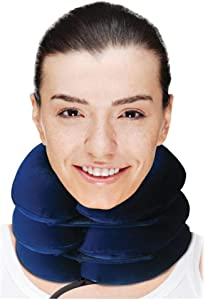 Comfortable Cervical Neck Traction Device - Inflatable & Adjustable Collar Brace - Chronic & Acute Pain Relief at Home Therapy - Neck Stretcher for Men & Women